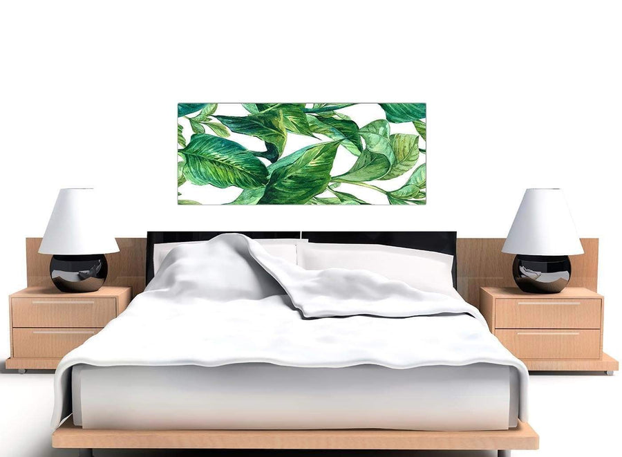 Cheap Green Palm Tropical Banana Leaves Canvas Modern 120cm Wide 1324 For Your Dining Room