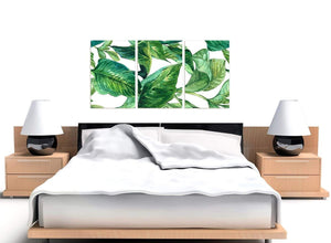 Cheap Green Palm Tropical Banana Leaves Canvas Split Triptych 3324 For Your Living Room