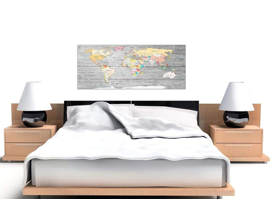 Cheap Grey Large Map Of World Canvas Art Print Colourful Light Grey Maps Canvas Modern 120cm Wide 1306 For Your Dining Room