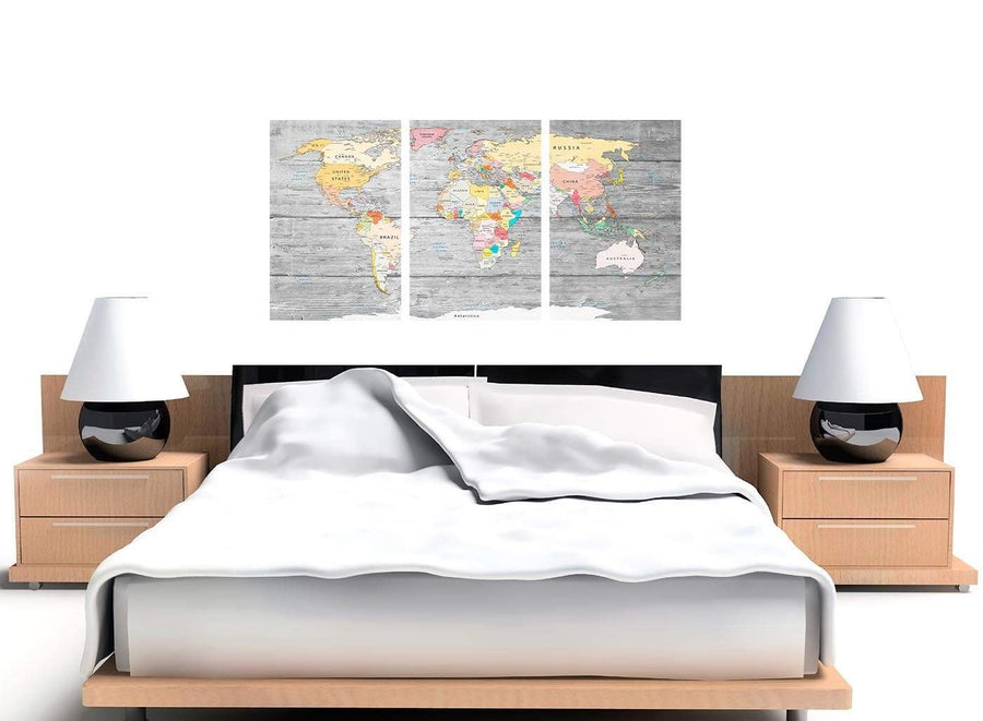 Cheap Grey Large Map Of World Canvas Art Print Colourful Light Grey Maps Canvas Multi 3 Panel 3306 For Your Office