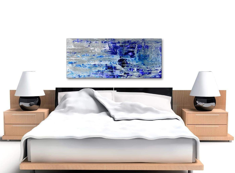 Cheap Indigo Blue Grey Abstract Painting Wall Art Print Canvas Modern 120cm Wide 1358 For Your Living Room
