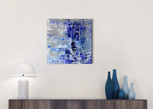 Cheap Indigo Blue Grey Abstract Painting Wall Art Print Canvas Modern 49cm Square 1S358S For Your Kitchen