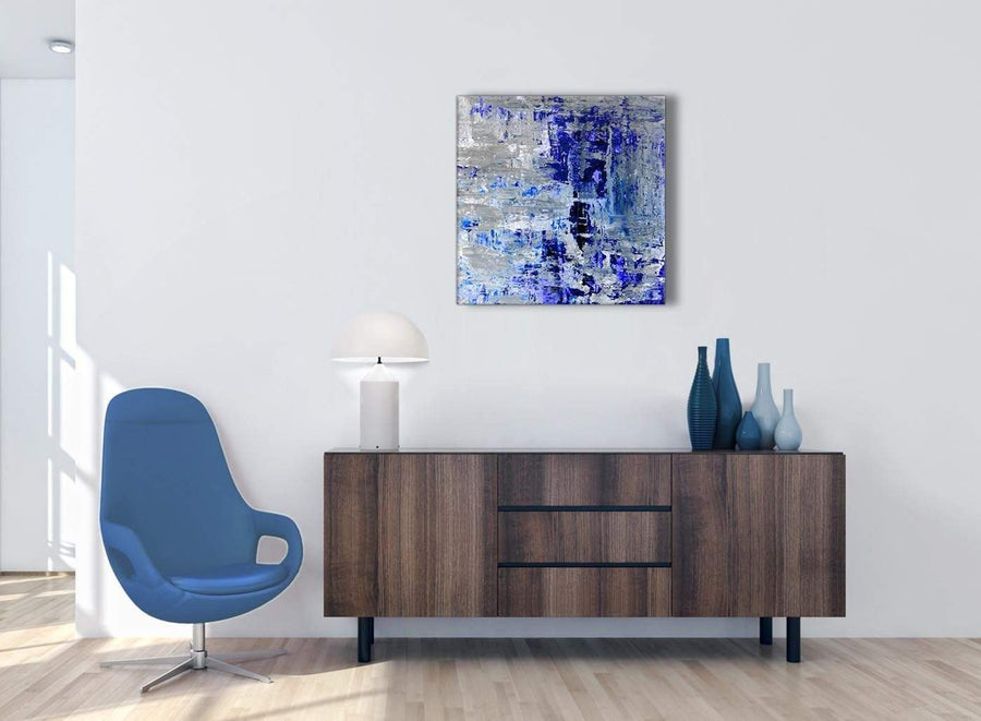 Cheap Indigo Blue Grey Abstract Painting Wall Art Print Canvas Modern 64cm Square 1S358M For Your Dining Room