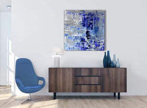 Cheap Indigo Blue Grey Abstract Painting Wall Art Print Canvas Modern 79cm Square 1S358L For Your Kitchen