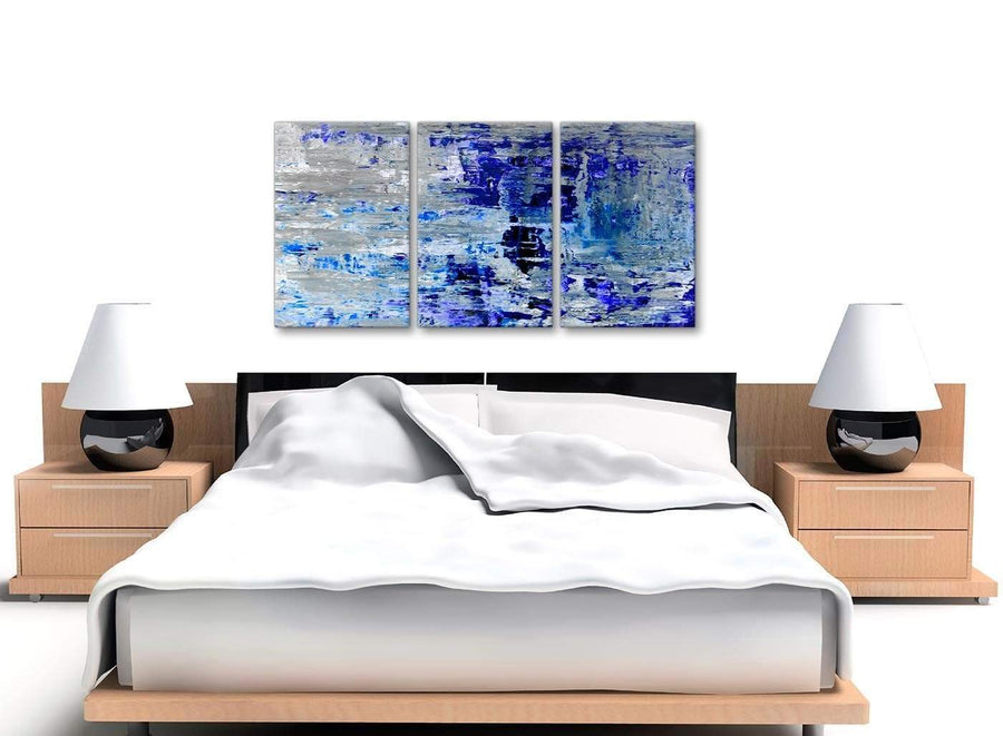 Cheap Indigo Blue Grey Abstract Painting Wall Art Print Canvas Split Set Of 3 125cm Wide 3358 For Your Dining Room