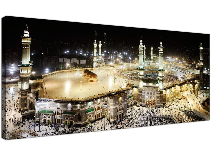 Cheap Islamic Canvas Wall Art Black & White Panoramic 1190