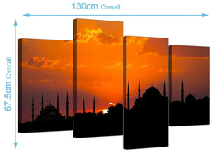 Extra Large Istanbul Blue Mosque Canvas Art 130cm x 68cm 4205