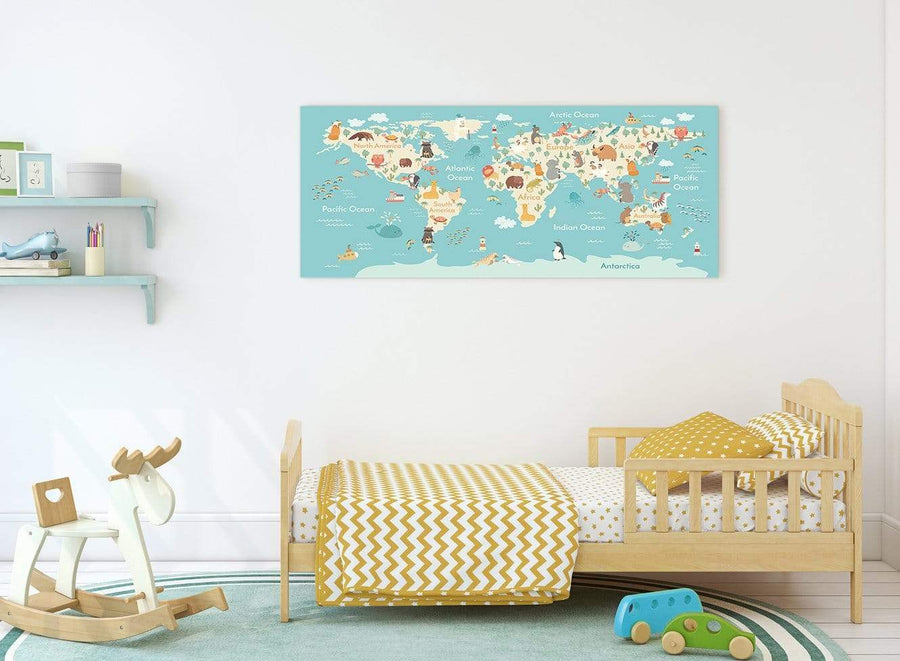 Childs Animal Atlas Map for Bedroom or Nursery in blue and yellow