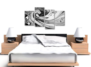 Cheap Large Black White Grey Swirls Modern Abstract Canvas Wall Art Split 4 Piece 130cm Wide 4354 For Your Kitchen