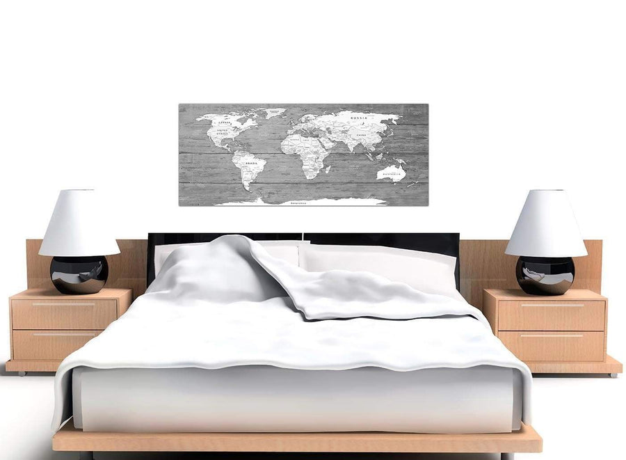 Cheap Large Black White Map Of World Atlas Canvas Wall Art Print Modern 120cm Wide 1315 For Your Office