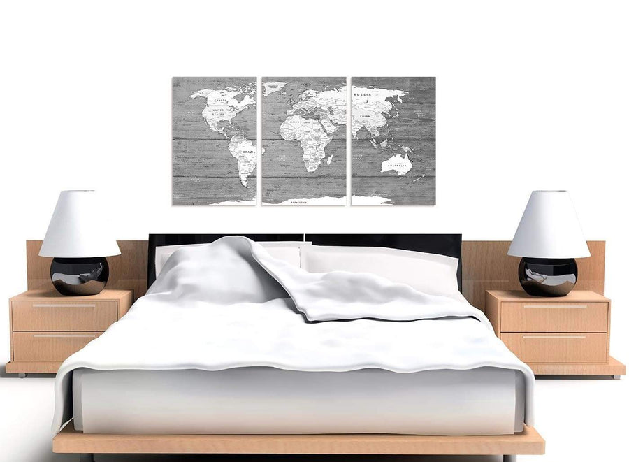 Cheap Large Black White Map Of World Atlas Canvas Wall Art Print Multi 3 Panel 3315 For Your Living Room