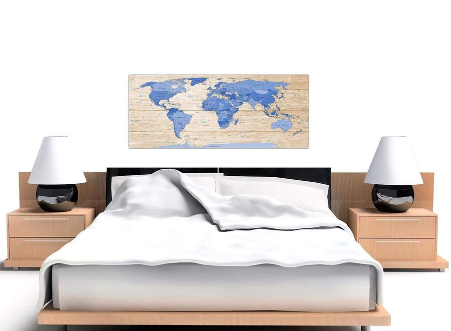 Cheap Large Blue Cream Map Of World Atlas Canvas Modern 120cm Wide 1308 For Your Dining Room