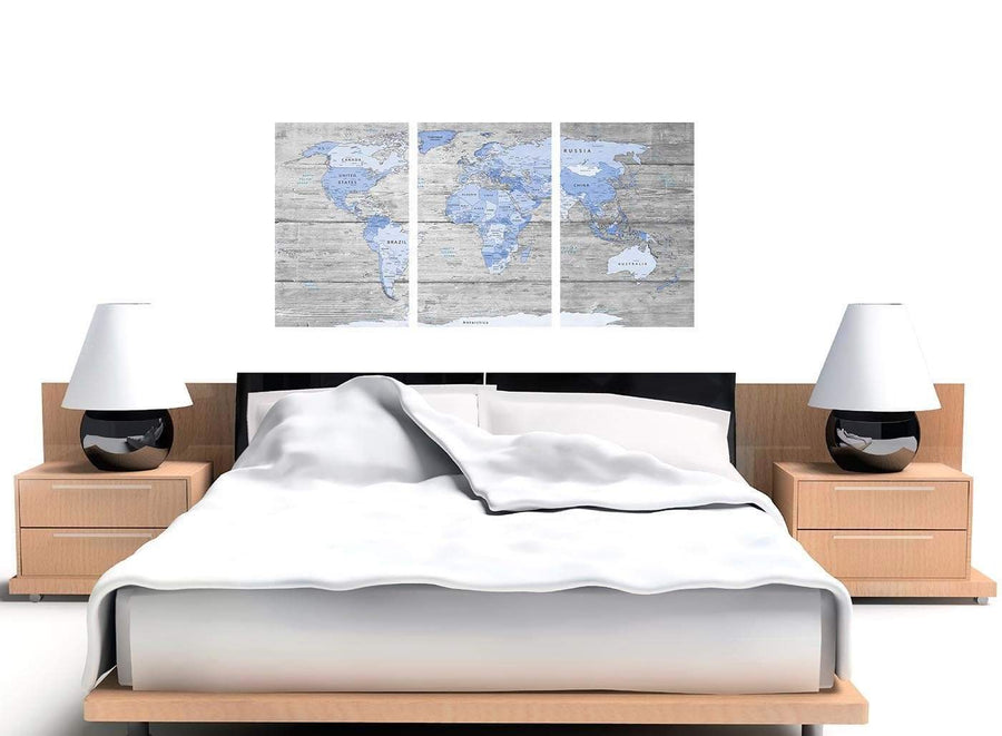 Cheap Blue Grey Large Map Of World Atlas Maps Canvas Multi 3 Set 3303 For Your Office