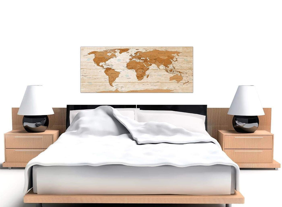 Cheap Large Brown Cream Map Of World Atlas Canvas Modern 120cm Wide 1307 For Your Dining Room