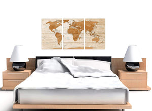 Cheap Large Brown Cream Map Of World Atlas Canvas Multi 3 Set 3307 For Your Living Room