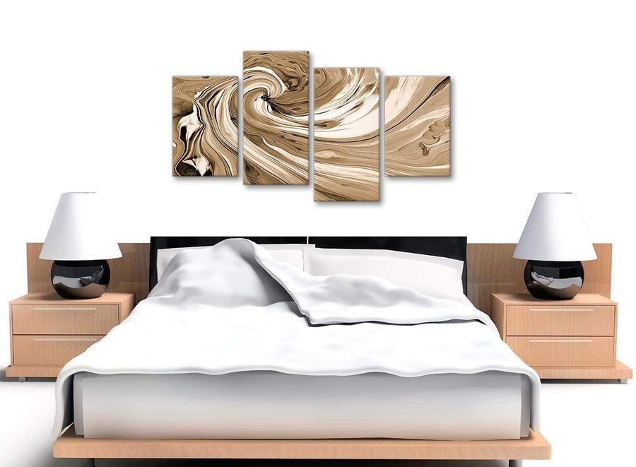 Cheap Large Brown Cream Swirls Modern Abstract Canvas Wall Art Split 4 Panel 130cm Wide 4349 For Your Living Room