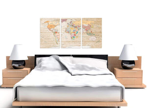 Cheap Large Cream Map Of The World Atlas Picture Canvas Split 3 Panel 3314 For Your Office