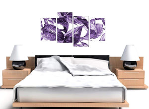 Cheap Large Dark Purple White Tropical Exotic Leaves Canvas Split 4 Piece 4322 For Your Dining Room