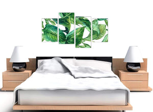 Cheap Large Green Palm Tropical Banana Leaves Canvas Split 4 Part 4324 For Your Kitchen