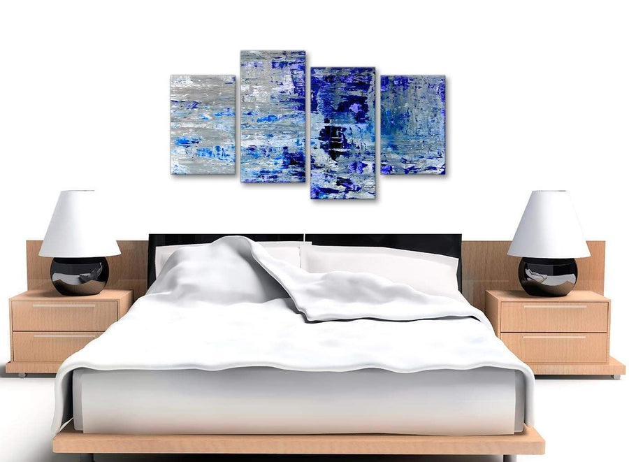 Cheap Large Indigo Blue Grey Abstract Painting Wall Art Print Canvas Split 4 Part 130cm Wide 4358 For Your Living Room