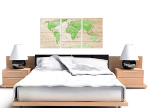 Cheap Large Lime Green Cream World Map Atlas Canvas Split Set Of 3 3310 For Your Living Room