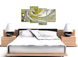 Cheap Large Lime Green Swirls Modern Abstract Canvas Wall Art Multi 4 Panel 130cm Wide 4351 For Your Dining Room