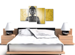 Cheap Large Mustard Yellow And Grey Silver Wall Art Print Of Buddha Canvas Multi 4 Panel 4328 For Your Living Room