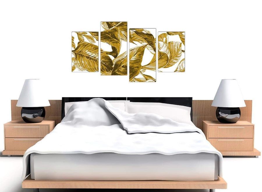Cheap Large Mustard Yellow White Tropical Leaves Canvas Split 4 Set 4318 For Your Bedroom