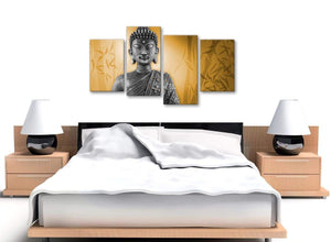 Cheap Large Orange And Grey Silver Wall Art Prints Of Buddha Canvas Split 4 Piece 4329 For Your Dining Room