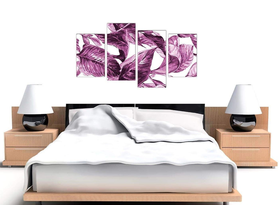 Cheap Large Plum Aubergine White Tropical Leaves Canvas Multi 4 Set 4319 For Your Bedroom