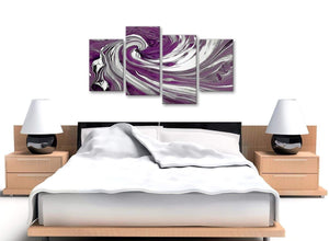 Cheap Large Plum Purple White Swirls Modern Abstract Canvas Wall Art Split 4 Panel 130cm Wide 4353 For Your Living Room