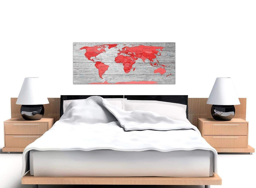 Cheap Large Red Grey Map Of The World Atlas Canvas Wall Art Print Modern 120cm Wide 1300 For Your Living Room