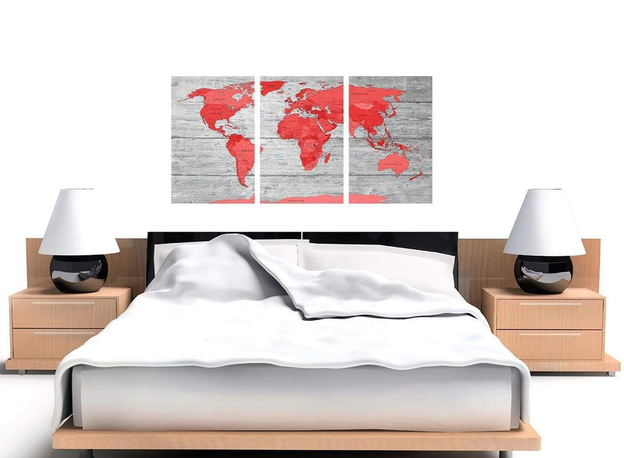 Cheap Large Red Grey Map Of The World Atlas Canvas Wall Art Print Multi 3 Set 3300 For Your Living Room