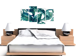 Cheap Large Teal Blue Green Tropical Exotic Leaves Canvas Multi 4 Piece 4325 For Your Living Room