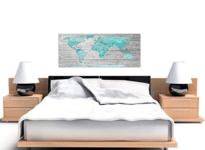 Cheap Large Teal Grey Map Of World Atlas Maps Canvas Modern 120cm Wide 1299 For Your Study