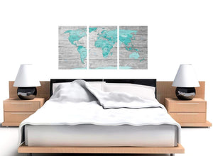 Cheap Large Teal Grey Map Of World Atlas Maps Canvas Split 3 Part 3299 For Your Office