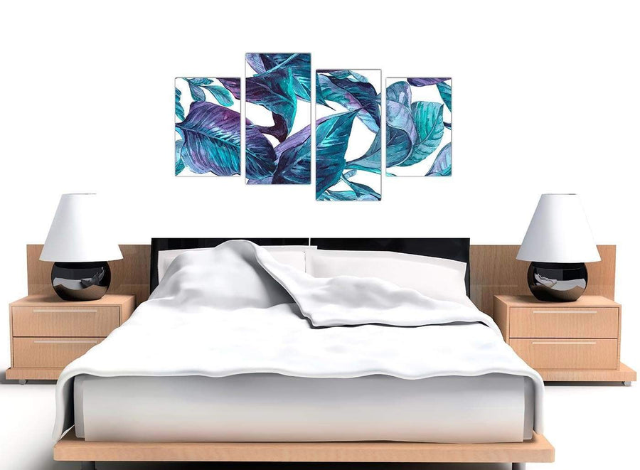 Cheap Large Turquoise And White Tropical Leaves Canvas Split 4 Set 4323 For Your Dining Room