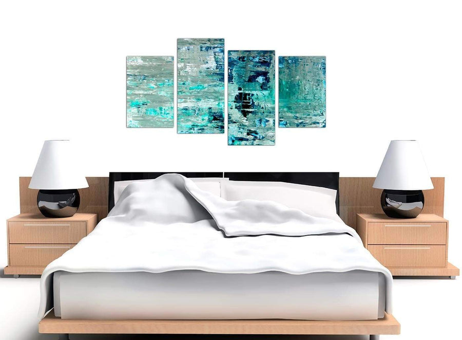 Cheap Large Turquoise Teal Abstract Painting Wall Art Print Canvas Split 4 Set 4333 For Your Living Room
