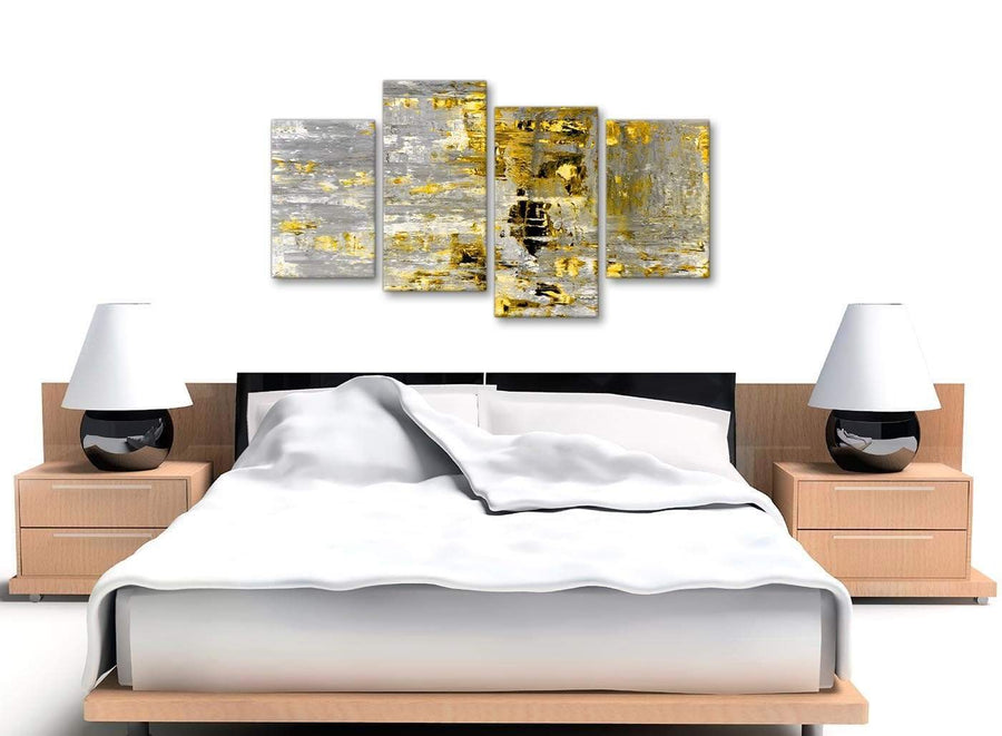 Cheap Large Yellow Abstract Painting Wall Art Print Canvas Split 4 Piece 130cm Wide 4357 For Your Dining Room