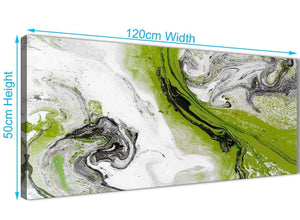 Cheap Lime Green and Grey Swirl Bedroom Canvas Pictures Accessories - Abstract 1464 - 120cm Print
