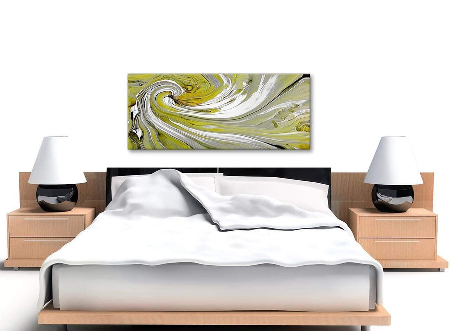 Cheap Lime Green Swirls Modern Abstract Canvas Wall Art Modern 120cm Wide 1351 For Your Kitchen