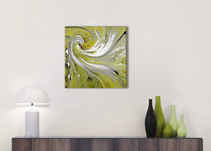Cheap Lime Green Swirls Modern Abstract Canvas Wall Art Modern 49cm Square 1S351S For Your Dining Room