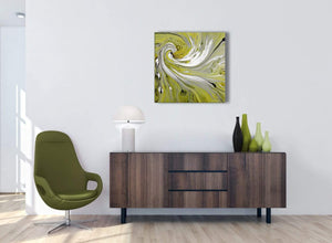 Cheap Lime Green Swirls Modern Abstract Canvas Wall Art Modern 64cm Square 1S351M For Your Kitchen
