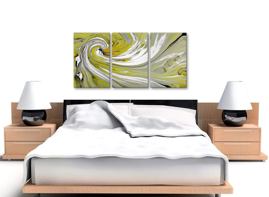Cheap Lime Green Swirls Modern Abstract Canvas Wall Art Multi Set Of 3 125cm Wide 3351 For Your Kitchen