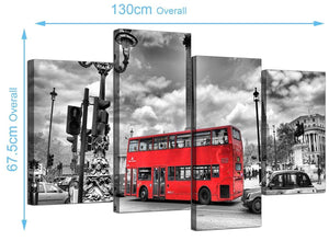 Cheap London Bus Canvas Art 130cm x 68cm 4210