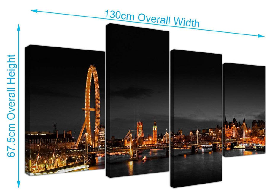 Large River Thames Canvas Art 130cm x 67cm 4186