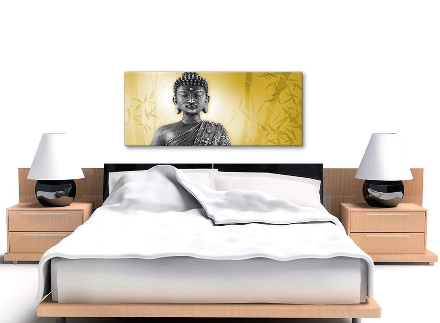 Cheap Mustard Yellow And Grey Silver Wall Art Print Of Buddha Canvas Modern 120cm Wide 1328 For Your Office