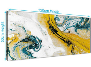 Cheap Mustard Yellow and Teal Swirl Bedroom Canvas Wall Art Accessories - Abstract 1470 - 120cm Print