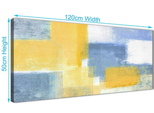Cheap Mustard Yellow Blue Living Room Canvas Pictures Accessories - Abstract 1371 - 120cm Print