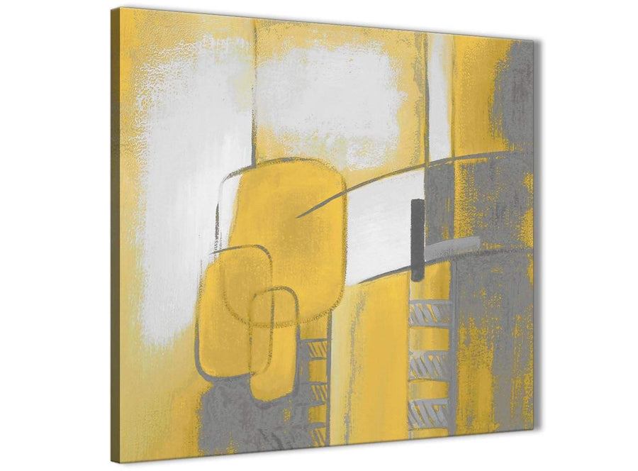 Cheap Mustard Yellow Grey Painting Bathroom Canvas Pictures Accessories - Abstract 1s419s - 49cm Square Print